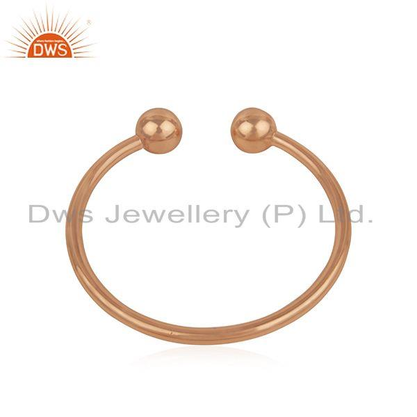Wholesalers Simple 925 Sterling Silver Rose Gold Plated Unisex Cuff Bracelet Manufacturer