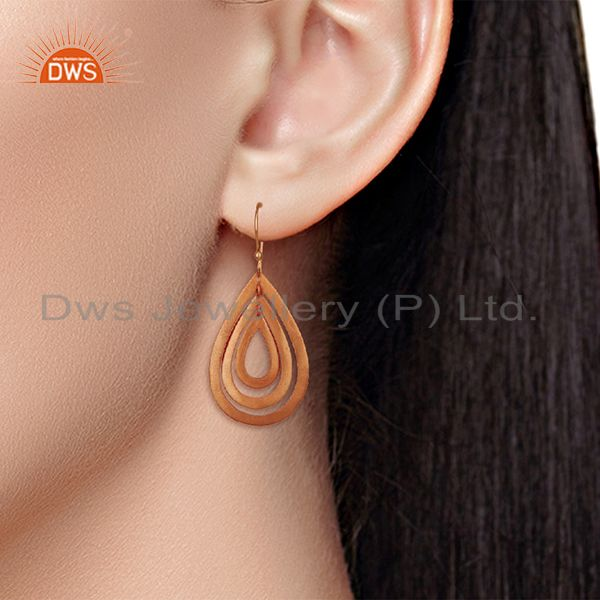 Wholesalers Handmade Rose Gold Plated Brass Fashion Dangle Earrings Manufacturers