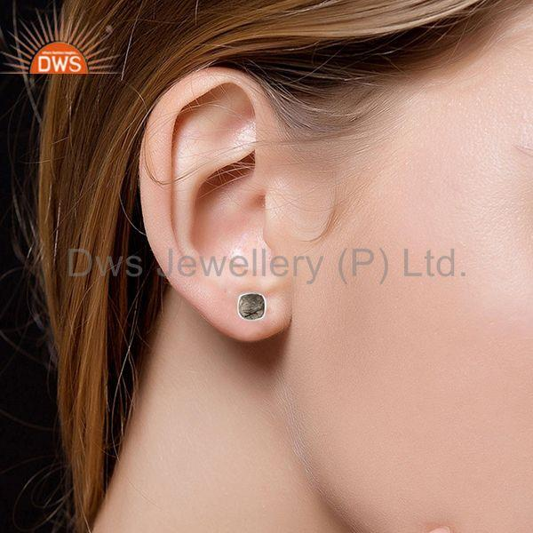 Wholesalers Fine Sterling 92.5 Silver Black Rutile Gemstone Handmade Stud Earring Wholesale