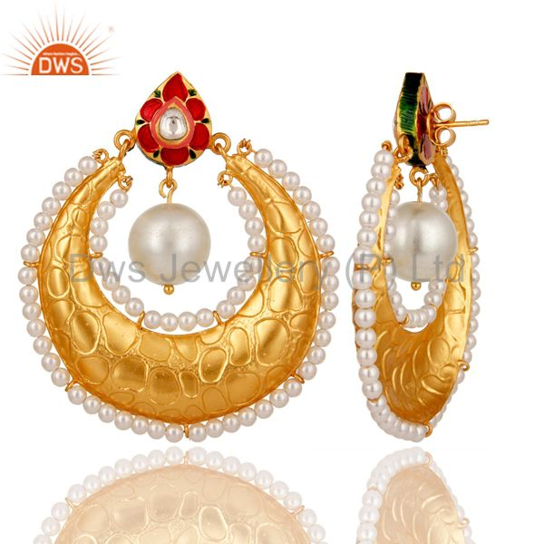 Wholesalers Crystal Polki and White Pearl 18K gold Plated Sterling Silver Enamel Earring