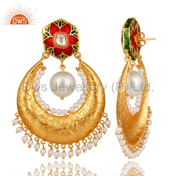 Wholesalers Crystal Quartz Polki and Pearl 18K Gold Plated Sterling Silver Enamel Earring