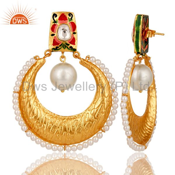 Wholesalers Crystal Quartz and Pearl Textured Yellow Gold Plated Silver Stud Enamel Earring