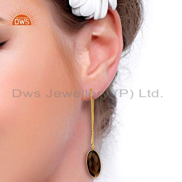 Wholesalers Smoky Quartz Gemstone Gold Plated 925 Silver Chain Earring Supplier