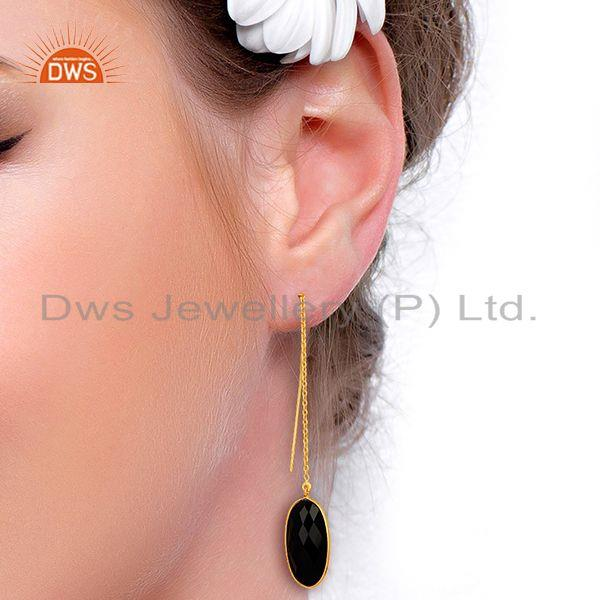 Wholesalers Gold Plated 925 Silver Black Onyx Gemstone Chain Earring Manufacturer
