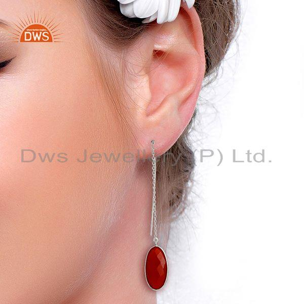 Wholesalers Red Onyx Gemstone 925 Sterling Fine Silver Chain Earrings Manufacturer