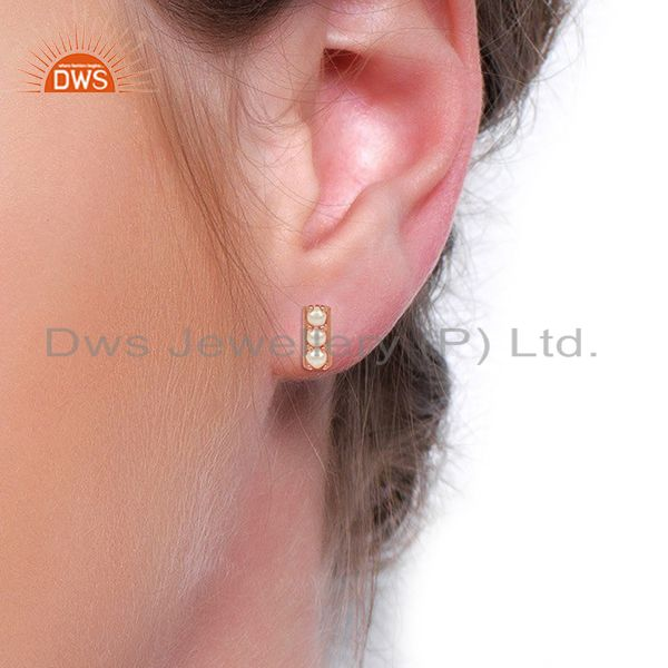 Wholesalers Pearl studded Handmade Rose Gold Plated Tiny Stud Wholesale Jewelry