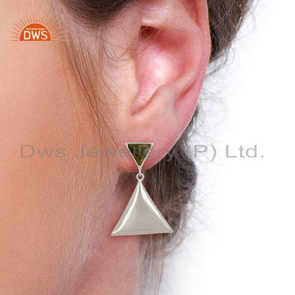Wholesalers Labradorite Pyramid Triangle Sterling Silver Wholesale Drops Earrings