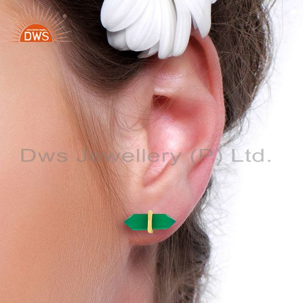 Wholesalers Green Onyx Terminated Pencil Post Gold Plated Sterling Silver Earring