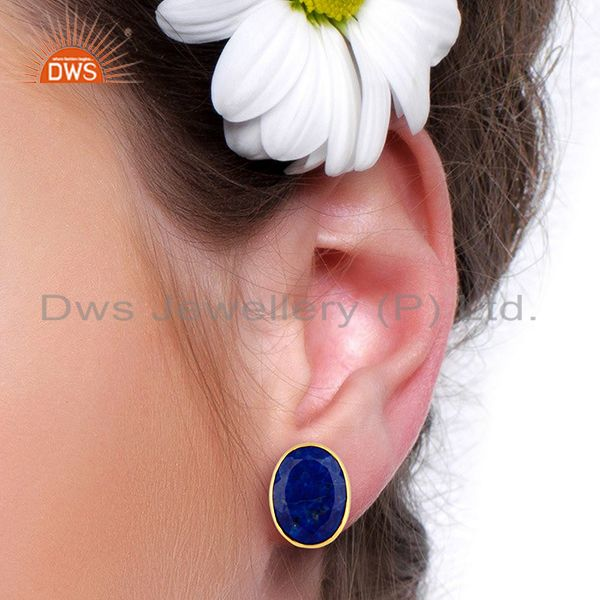 Wholesalers Natural Lapis Flat Large Statement Oval Post Gold Plated Silver Earring