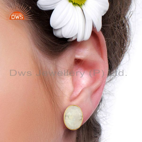 Wholesalers Rainbow Moonstone Flat Large Statement Oval Post Gold Plated Silver Earring