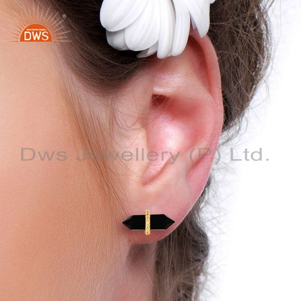 Wholesalers Black Onyx Cz Studded Pencil Post 14K Gold Plated Sterling Silver Earring