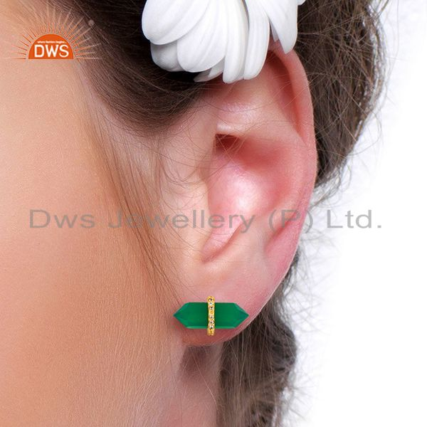 Wholesalers Green Onyx Cz Studded Pencil Post 14K Gold Plated Sterling Silver Earring