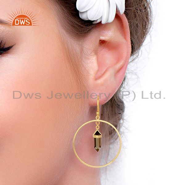 Wholesalers Smoky Topaz Hoop Earring,Pencil Terminated Earring Gold Plated Silve Earring
