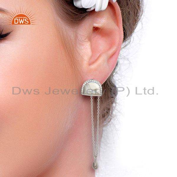 Wholesalers Cz Gemstone 925 Silver White Chain Earrings Manufacturer from India