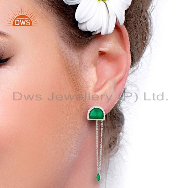 Wholesalers Green Onyx Studded Half Moon Long Dangle 92.5 Sterling Silver Earring