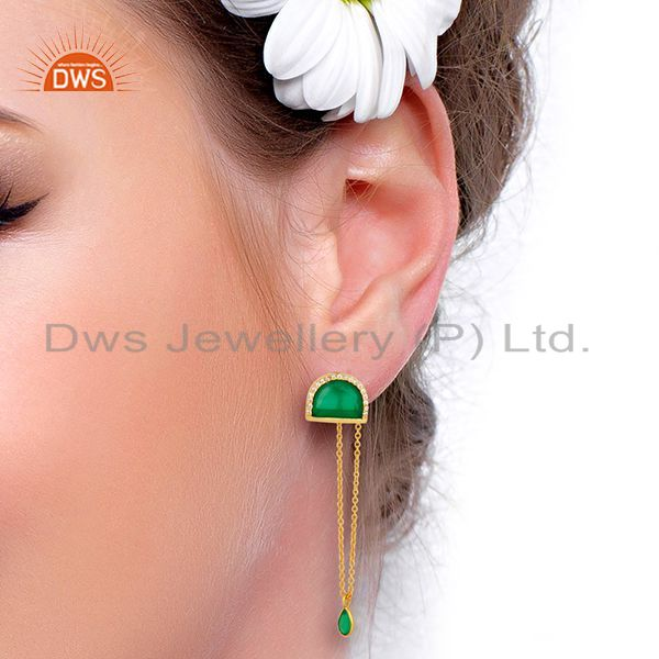 Wholesalers Green Onyx Studded Half Moon Long Dangle Gold Plated Sterling Silver Earring