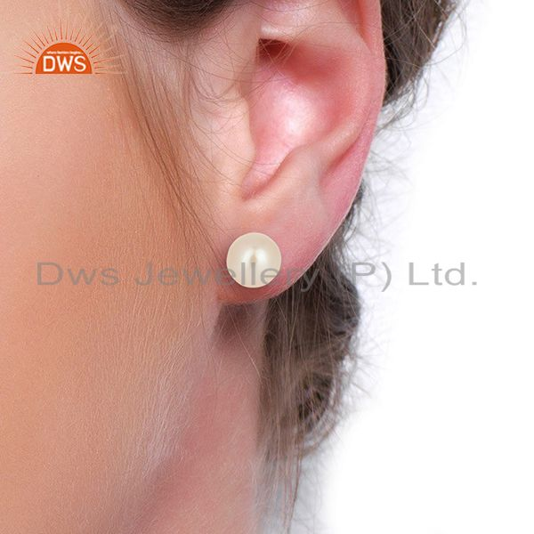 Wholesalers Genuine Pearl Stud 10 MM Post Black rhodium 92.5 Silver Wholesale Earring