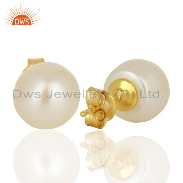 Wholesalers Genuine Pearl Stud 10 MM Post Gold Plated 92.5 Sterling Silver Wholesale Earring