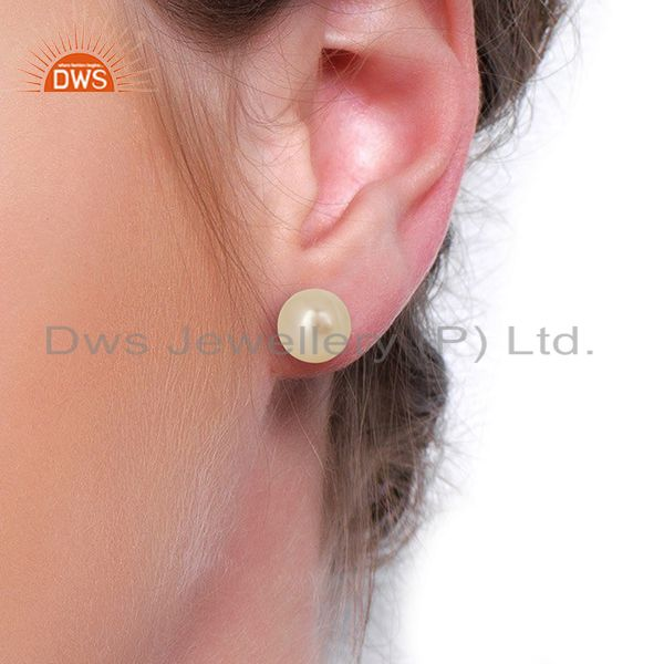 Wholesalers Pearl Stud 18K Yellow Gold Plated 925 Sterling Silver Earrings Jewelry