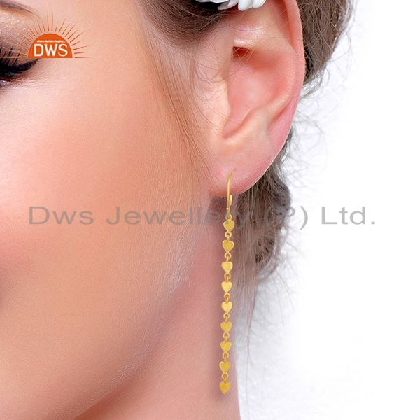 Wholesalers 14K Yellow Gold Plated 925 Sterling Silver Long Chain Dangle Earrings Jewelry
