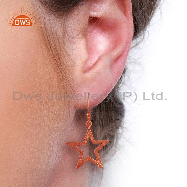 Wholesalers Rose Gold Plated Silver Star Designer Plain Silver Earrings Jewelry
