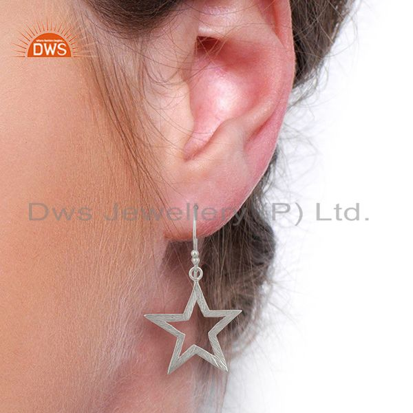 Wholesalers 925 Sterling Fine Silver Star Design Girls Earring Jewelry Manufacture