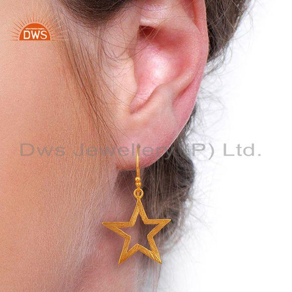 Wholesalers Lucky Star Charm Gold Plated Sterling Plain 925 Silver Earrings