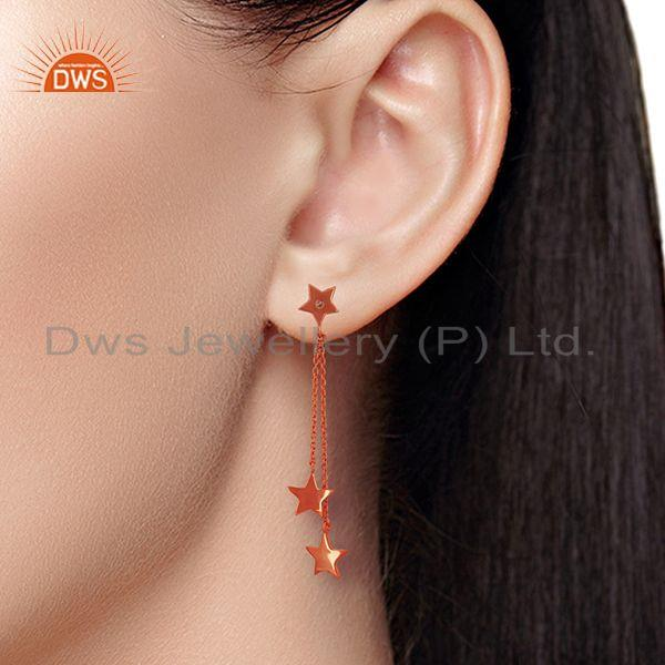 Wholesalers Rose Gold Plated Sterling Silver White Topaz Star Charm Chain Earrings