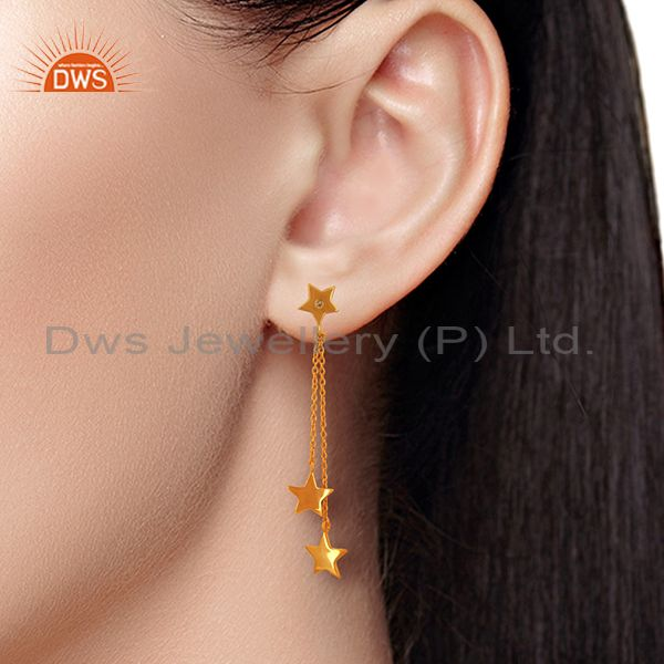 Wholesalers White Topaz Gemstone 925 Silver Gold Plated Star Chain Earrings