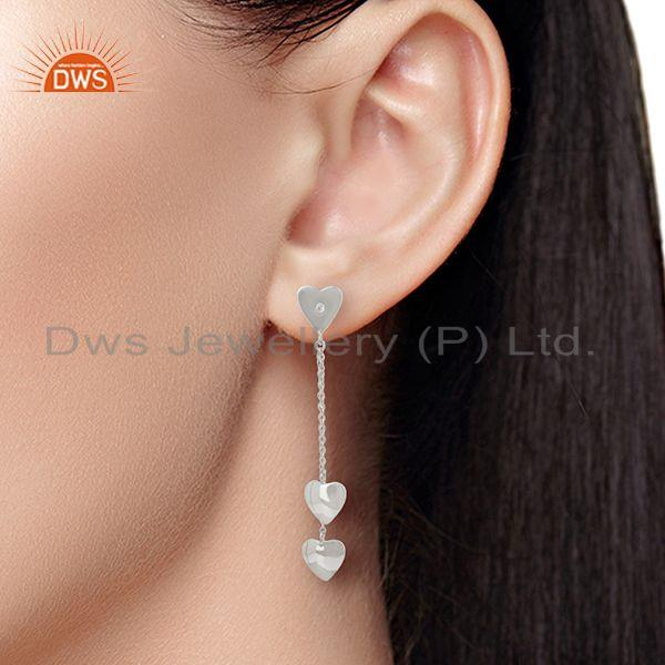 Wholesalers Heart Design Fine Sterling Silver Chain Earring Manufacturer Wholesale