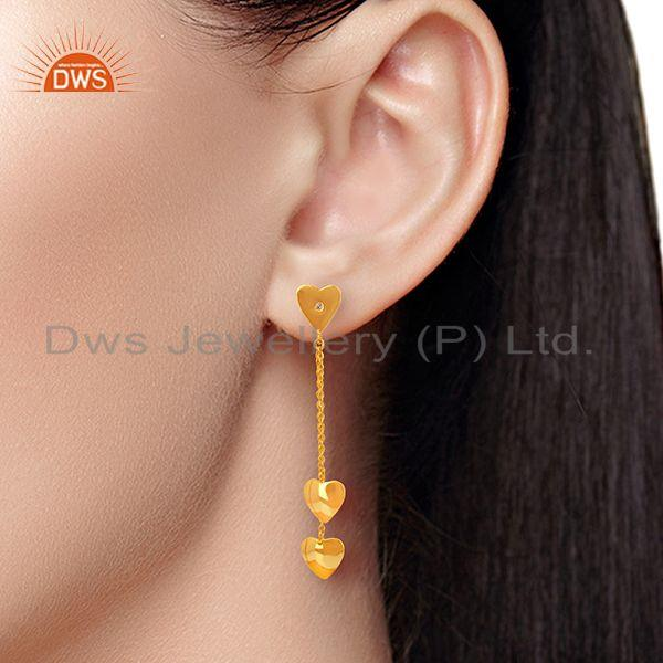 Wholesalers Heart Design Gold Plated Sterling Silver Chain Earring Manufacturer