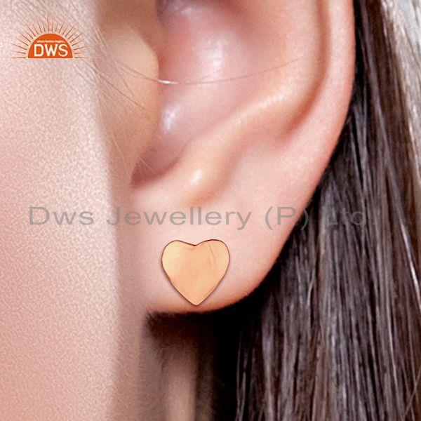Wholesalers Rose Gold Plated 925 Sterling Plain Silver Heart Stud Earring Supplier