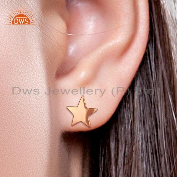 Wholesalers 14k Rose Gold Plated Star Charm Sterling Silver Stud Earring Supplier