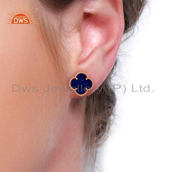 Wholesalers Lapis Lazuli Clover The Magic Motif Sterling Silver Rose Gold Plated Earrings