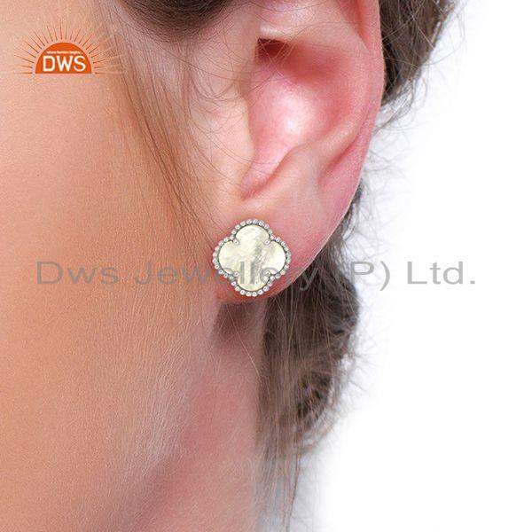 Wholesalers Mother Of Pearl Clover Magic Motif Sterling Silve White Rhodium Plated Earring