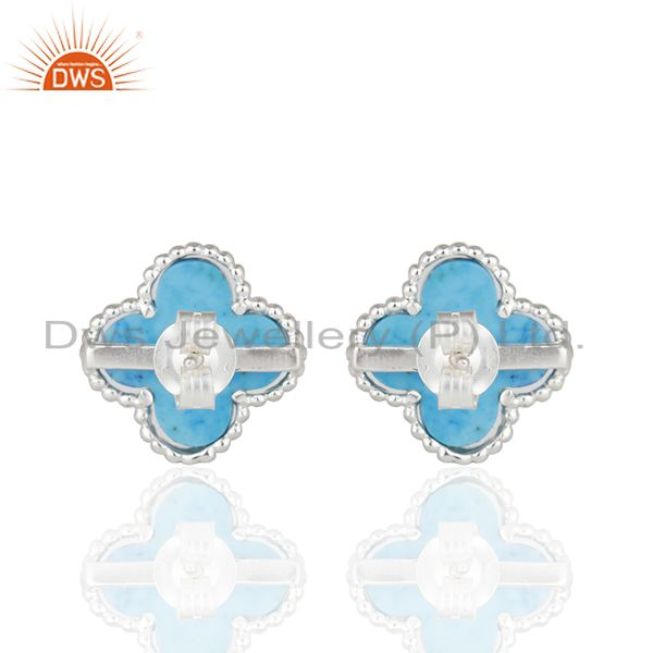 Wholesalers Turquoise Clover The Magic Motif Sterling Silver White Rhodium Plated Earrings