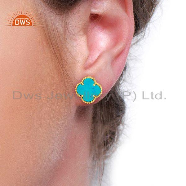 Wholesalers Turquois Clover The Magic Motif Sterling Silver 14K Gold Plated Earrings