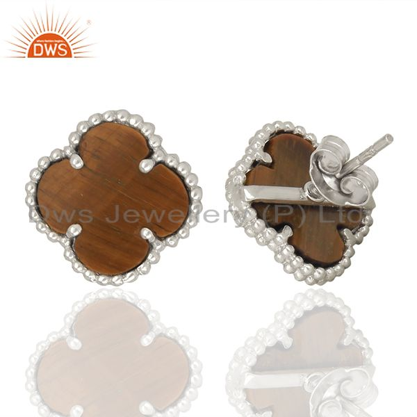 Wholesalers Tiger Eye Clover The Magic Motif Sterling Silver White Rhodium Plated Earrings