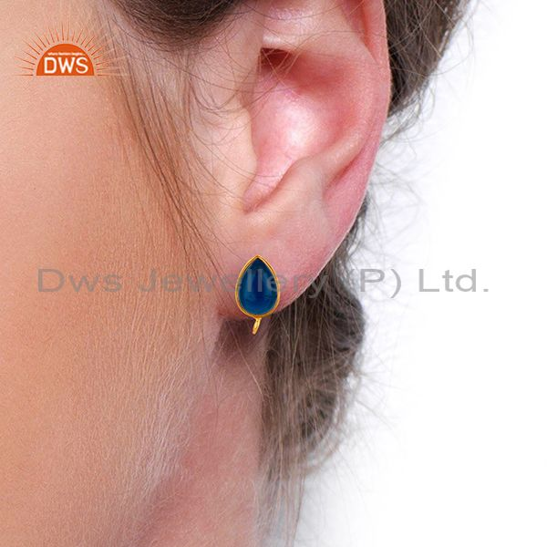 Wholesalers Blue Corundum Studs 18K Gold Plated 925 Sterling Silver Jewelry Finding  Jewelry