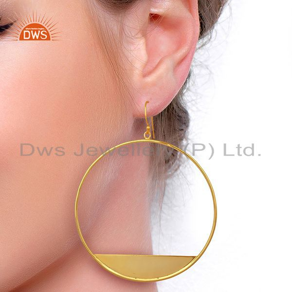 Wholesalers Designer Gold Plated 925 Silver Womens Plain Silver Fashion Earrings