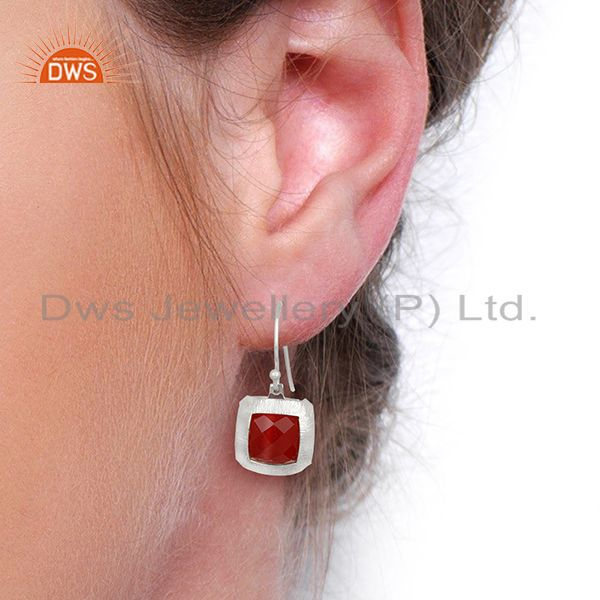 Wholesalers Handmade 925 Sterling Silver Natural red Onyx Gemstone Earrings