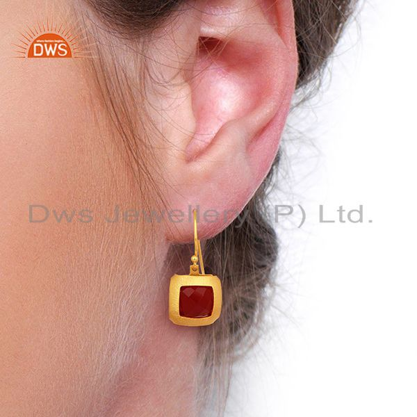 Wholesalers Natural Red Onyx Gemstone Designer Gold Plated Silver Earring