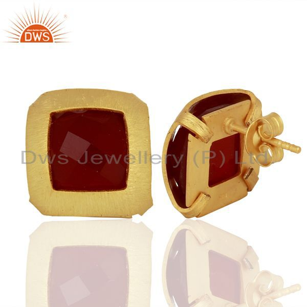 Wholesalers Gold Plated Sterling Silver Natural Red Onyx Gemstone Stud Earrings