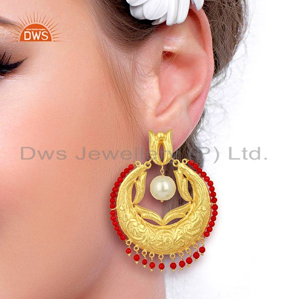 Wholesalers CZ Coral Gemstone Gold Plated Silver Chand Bali Traditional Earrings
