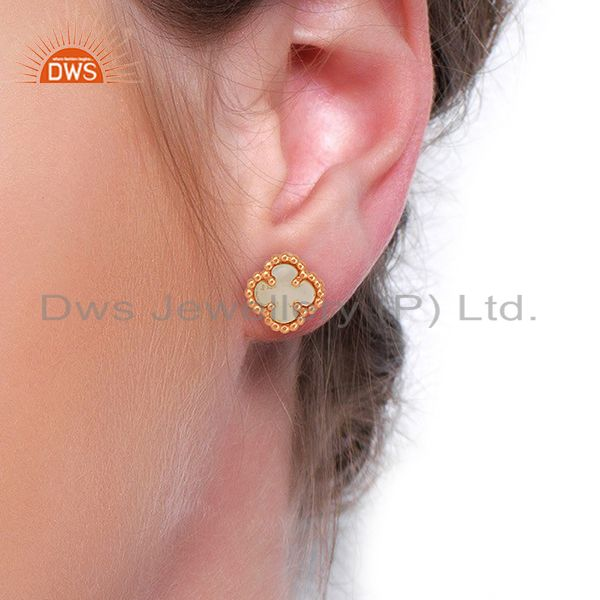 Wholesalers Mother Of Pearl The Magic Mini Motif Sterling Silver Rose Gold Plated Studs