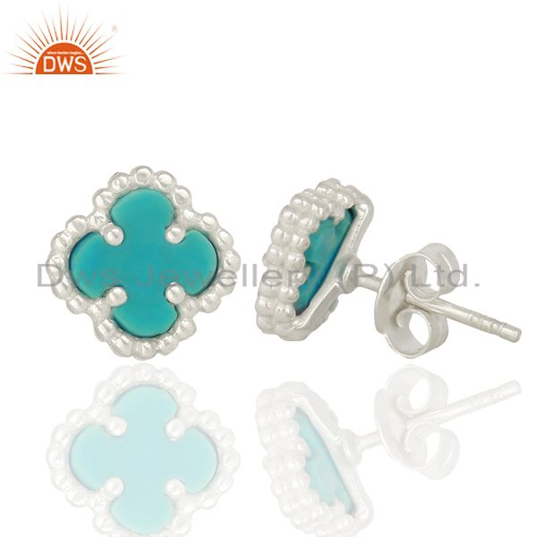 Wholesalers Turquoise Clover The Magic Mini Motif 925 Sterling Silver Studs Earrings Jewelry
