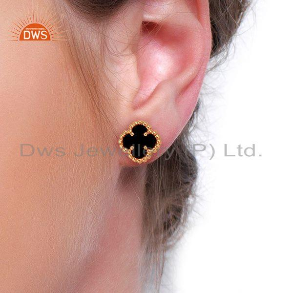 Wholesalers Black Onyx Clover The Magic Mini Motif Sterling Silver Rose Gold Plated Studs