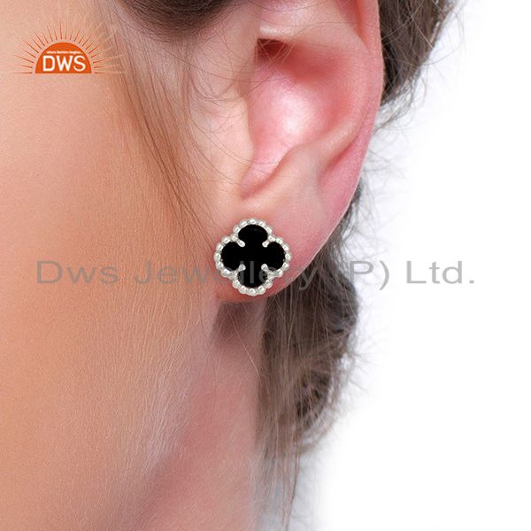 Wholesalers Black Onyx The Magic Motif 925 Sterling Silver Mini Clover Studs Jewelry