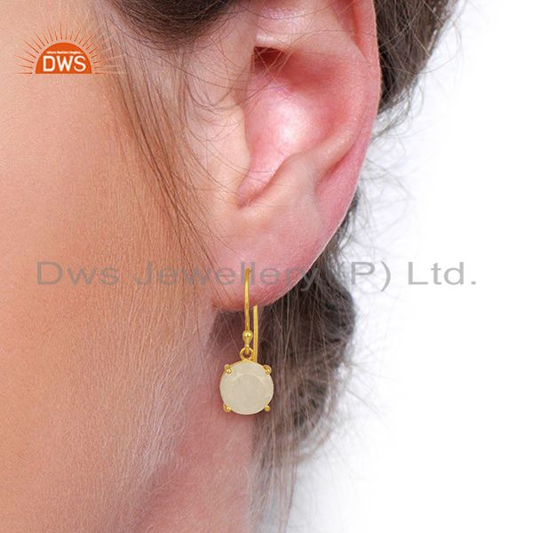 Wholesalers Moonstone Flat Shape Pefect Drop 14K Gold Plated Wholesale Silver Earring