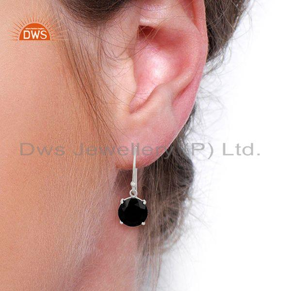 Wholesalers Black Onyx Flat Shape Pefect Drop High Finish Wholesale Sterling Silver Earrings